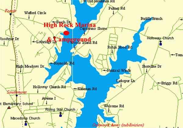 High Rock Lake Information - North carolina lakes map